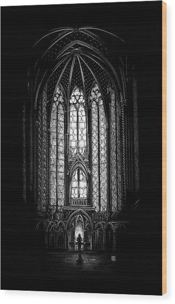 Wood Print featuring the drawing Sainte-chapelle by Clint Hansen