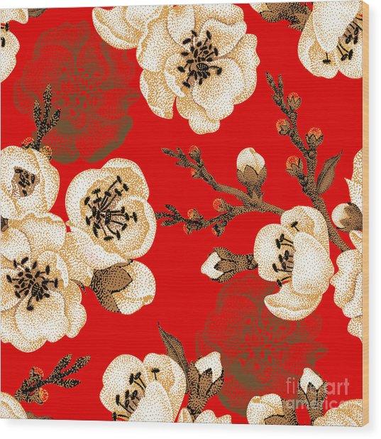 Sakura Branch On Red Background. Vector Wood Print