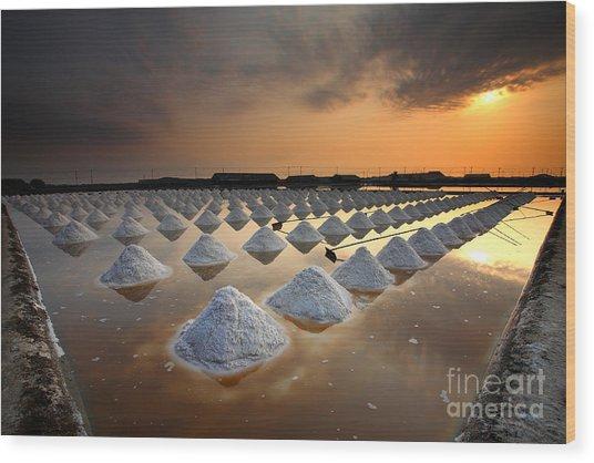 Salt Fields, Phetchaburi, Thailand Wood Print