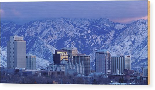 Salt Lake City Skyline With Wasatch Wood Print by John Telford Photographs