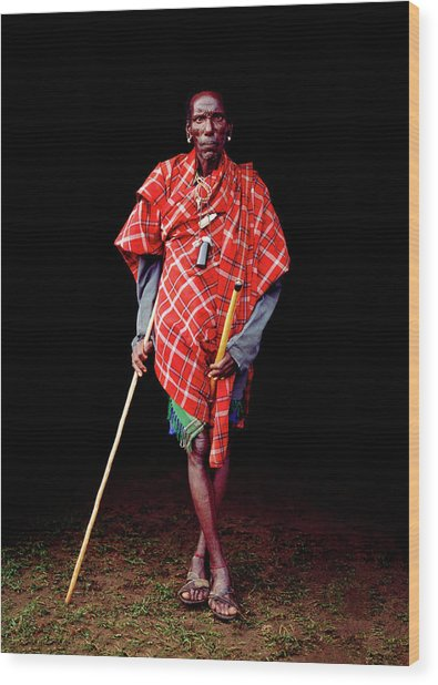 Samburu Tribal Elder With Stick Wood Print