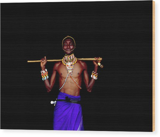 Samburu Warrior In Traditional Dress Wood Print