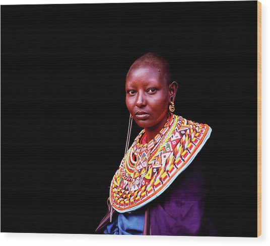 Samburu Woman With Traditional Necklace Wood Print