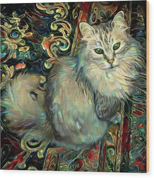 Samson The Silver Maine Coon Cat Wood Print