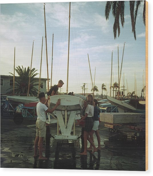 San Diego Boatyard Wood Print by Slim Aarons