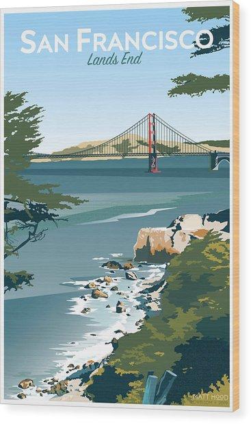 San Francisco Lands End Wood Print