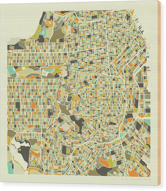 San Francisco Map 1 Wood Print