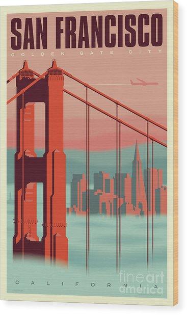 San Francisco Poster - Vintage Travel Wood Print