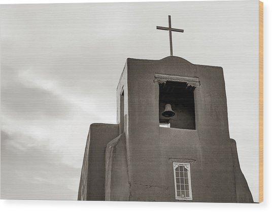 San Miguel Mission Chapel - Santa Fe New Mexico In Classic Sepia Wood Print