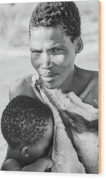 San Mother And Child Wood Print