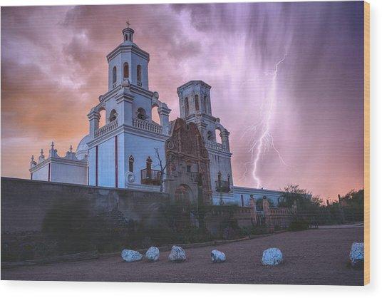 San Xavier Mission Lightning Wood Print
