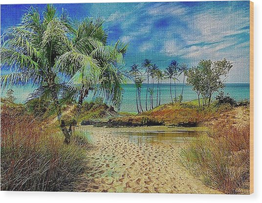 Sand To The Shore Montage Wood Print