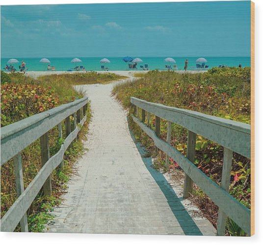 Sanibel Beach Umbrellas Wood Print
