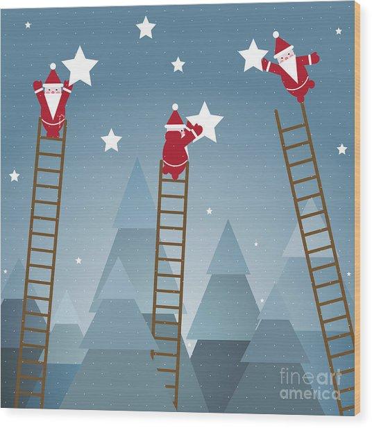 Santa Hanging Stars And Christmas Wood Print
