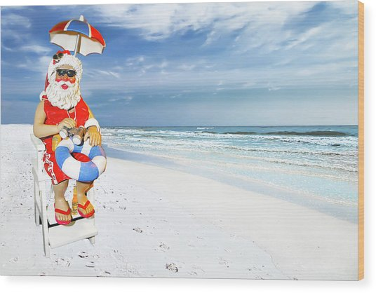 Santa Lifeguard Wood Print