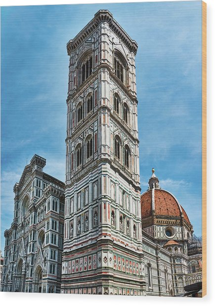 Santa Maria Del Fiore Cathedral Doorway And Bell Tower Wood Print