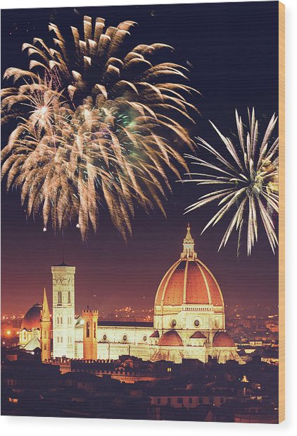 Santa Maria Del Fiore Dome In Florence Wood Print by Franckreporter