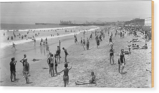 Santa Monica Beach Circa 1920 Wood Print
