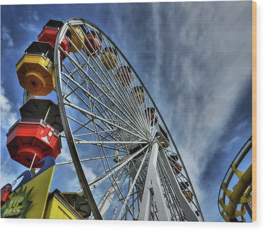 Wood Print featuring the photograph Santa Monica Pier 006 by Lance Vaughn