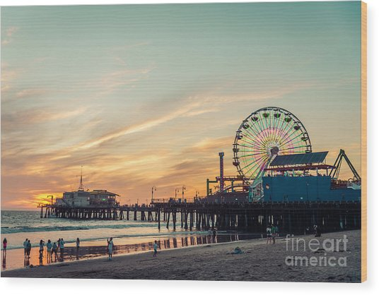 Santa Monica Pier At Sunset, Los Angeles Wood Print