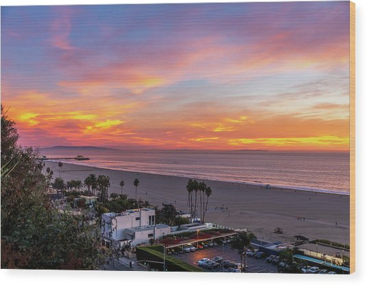Santa Monica Pier Sunset - 11.1.18  Wood Print