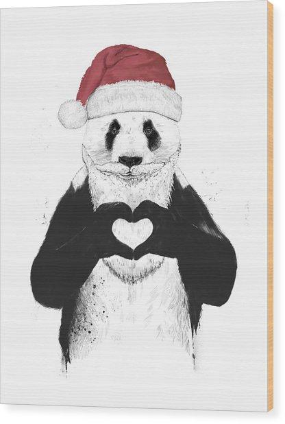 Santa Panda Wood Print
