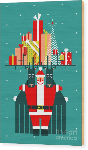 Santa With Deers Gifts And Presents Wood Print