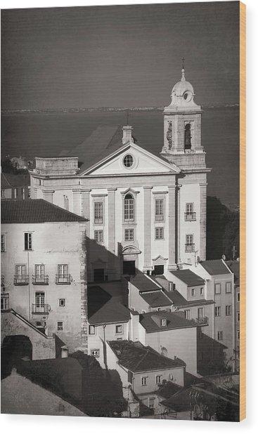 Santo Estevao Church Lisbon Portugal Black And White  Wood Print