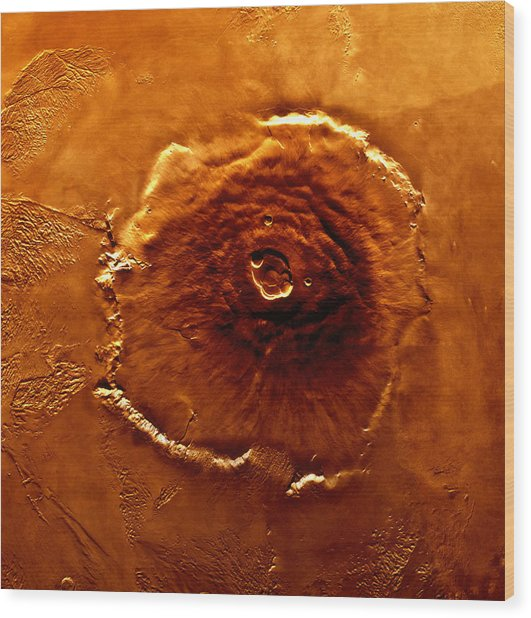 Satellite Image Of Olympus Mons Wood Print by World Perspectives