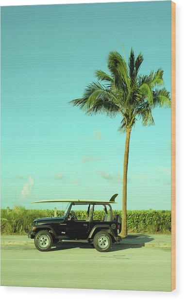Saturday Surfer Jeep Wood Print