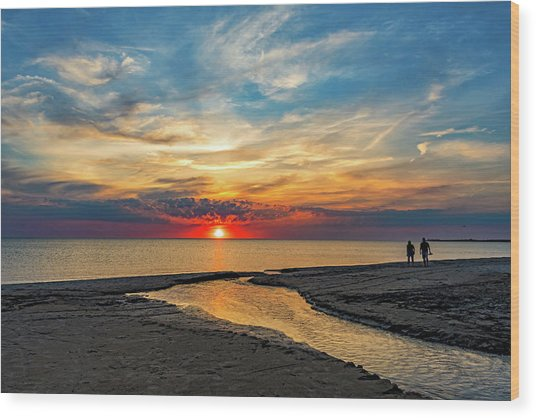 Sauble Beach Sunset - Evening Ritual Wood Print