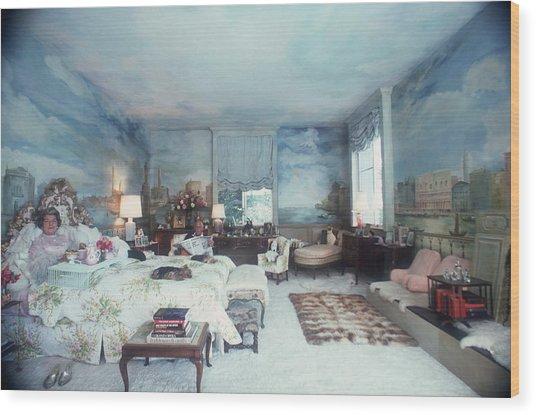 Saunderson Bedroom Wood Print by Slim Aarons