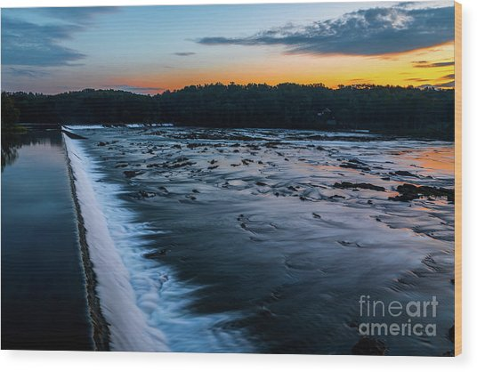 Savannah Rapids Sunrise - Augusta Ga Wood Print