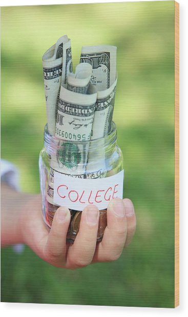 Savings For College Wood Print by Weekend Images Inc.