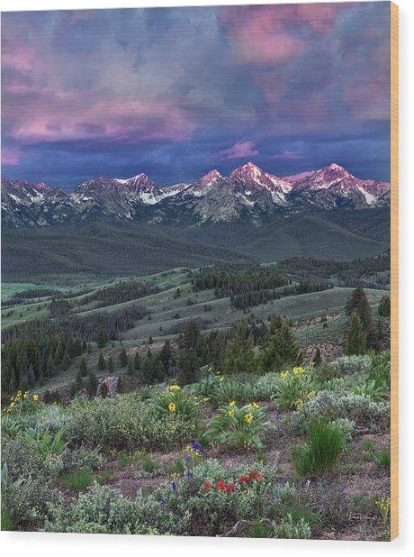 Sawtooth Sunrise Wood Print by Leland D Howard