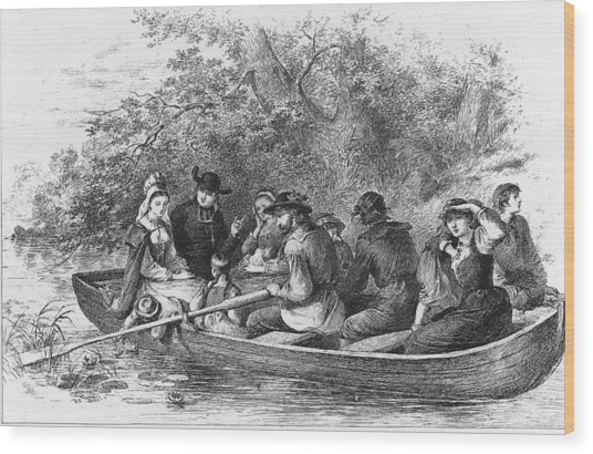 Scene From Longfellows Evangeline Wood Print by Kean Collection