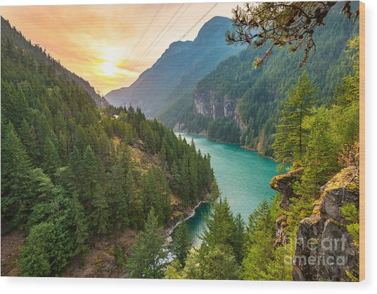 Scene Over Diablo Lake When Sunrise In Wood Print by Checubus