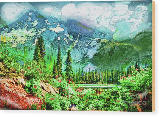 Scenic Mountain Lake Wood Print