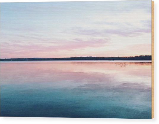 Scenic View Of Calm Sea Against Cloudy Wood Print by Thomas Weng / Eyeem