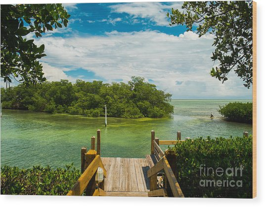 Scenic View Of The Florida Keys With Wood Print