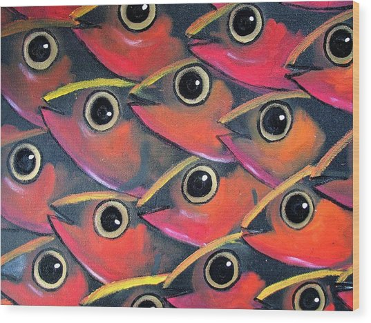 School Of Eyes Wood Print