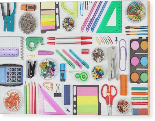 School Tools On White Background Top Wood Print