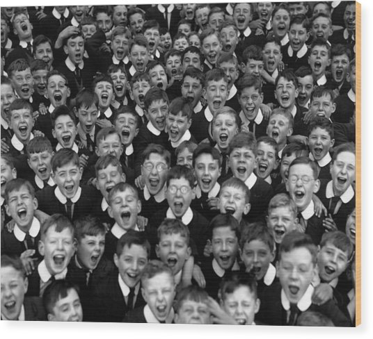 Schoolboys Cheer Wood Print by Fox Photos