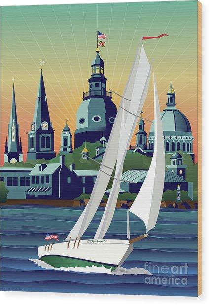 Schooner Woodwind Chesapeake Bound Wood Print