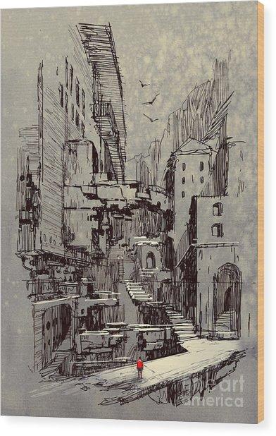 Sci-fi Cityscape,illustration Painting Wood Print