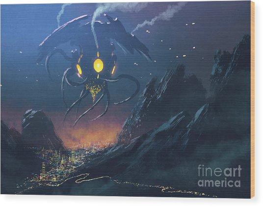 Sci-fi Scene Of The Alien Ship Invading Wood Print