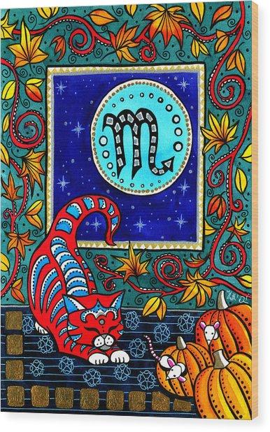 Scorpio Cat Zodiac Wood Print