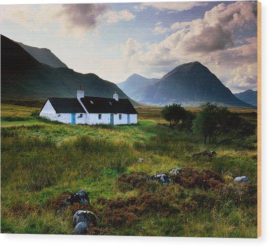 Scotland,glencoe,black Rock Cottage Wood Print by Charlie Waite