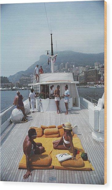 Scottis Yacht Wood Print by Slim Aarons