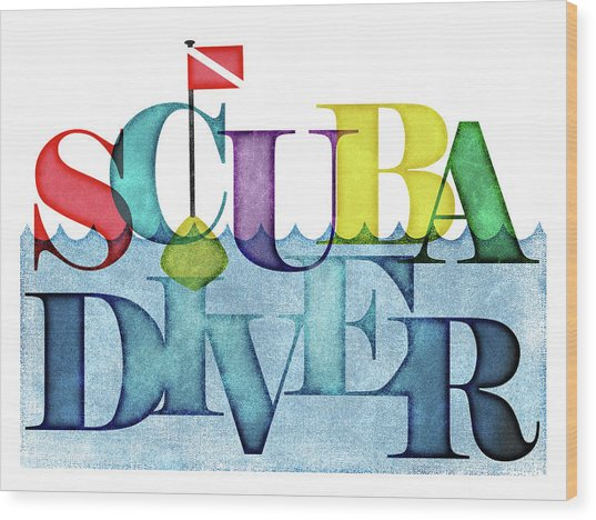 Scuba Diver Colorful Wood Print
